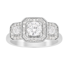 Jenny Packham Three Stone Brilliant Cut 0.95 Carat Total Weight Diamond Square Art Deco Style Ring in 18 Carat White Gold