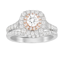 Jenny Packham Brilliant Cut 1.18 Carat Total Weight Bridal Set in 18 Carat White and Rose Gold