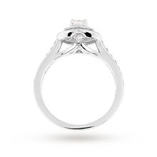 Jenny Packham Cushion Cut 0.70 Carat Total Weight Double Halo Diamond Ring in 18 Carat White Gold