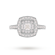 Jenny Packham Cushion Cut 1.20 Carat Total Weight Double Halo Diamond Ring in 18 Carat White Gold