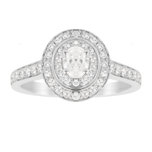 Jenny Packham Oval Cut 0.70 Carat Total Weight Double Halo Diamond Ring in 18 Carat White Gold