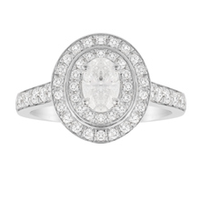 Jenny Packham Oval Cut 1.21 Carat Total Weight Double Halo Diamond Ring in 18 Carat White Gold
