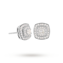 Jenny Packham 18ct White Gold 0.45 Carat Total Weight Cushion Cut Double Halo Diamond Earrings