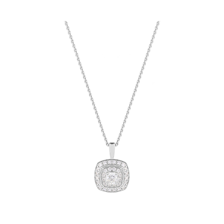 For Her - Jenny Packham 18ct White Gold 0.35 Carat Total Weight Cushion Cut Double Halo Diamond Necklace - 37410041