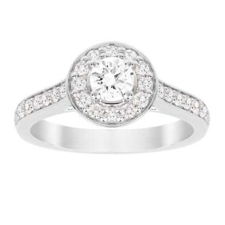 Jenny Packham Brilliant Cut 0.85 Carat Total Weight Halo Diamond Ring in 18 Carat White Gold