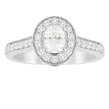 Jenny Packham Oval Cut 0.85 Carat Total Weight Halo Diamond Ring in 18 Carat White Gold