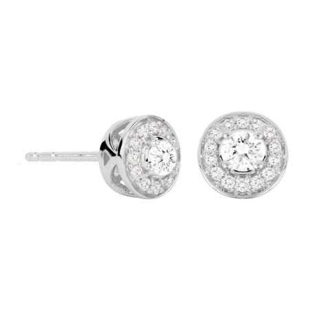 For Her - Jenny Packham 18ct White Gold 0.23 Carat Total Weight Brilliant Cut Halo Diamond Earrings - 37410048