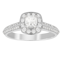 Jenny Packham Cushion Cut 0.70 Carat Total Weight Halo Diamond Ring in 18 Carat White Gold
