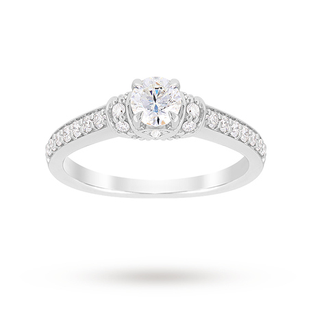 Jenny Packham Brilliant Cut 0.45 Carat Total Weight Diamond Art Deco Style Ring in Platinum