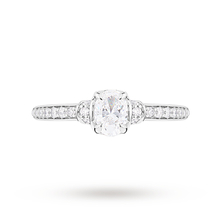 Jenny Packham Oval Cut 0.45 Carat Total Weight Diamond Art Deco Style Ring in Platinum