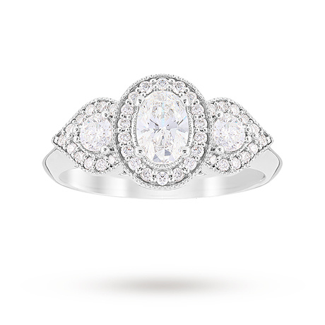 Jenny Packham Three Stone Oval Cut 0.95 Carat Total Weight Diamond Art Deco Style Ring in Platinum