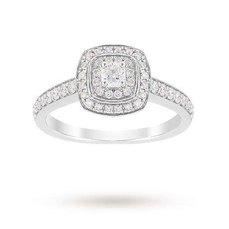 Jenny Packham Cushion Cut 0.70 Carat Total Weight Double Halo Diamond Ring in Platinum