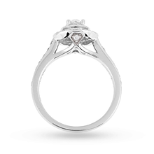 Jenny Packham Oval Cut 0.70 Carat Total Weight Double Halo Diamond Ring in Platinum