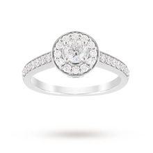 Jenny Packham Brilliant Cut 0.85 Carat Total Weight Halo Diamond Ring in Platinum