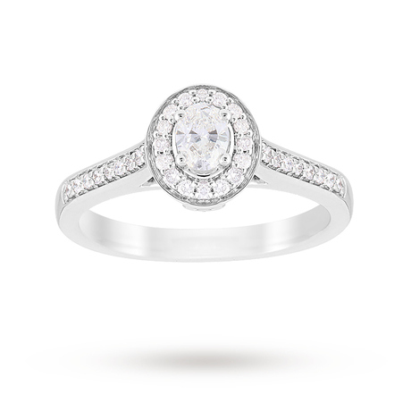 Jenny Packham Oval Cut 0.35 Carat Total Weight Halo Diamond Ring in Platinum
