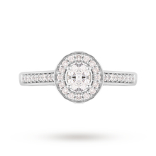 Jenny Packham Platinum Oval Cut 0.35cttw Halo Diamond Ring