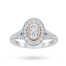 Jenny Packham 18 Carat White Gold 0.60 Carat Diamond Oval Ring With Rose Gold Milgrain - M37410175