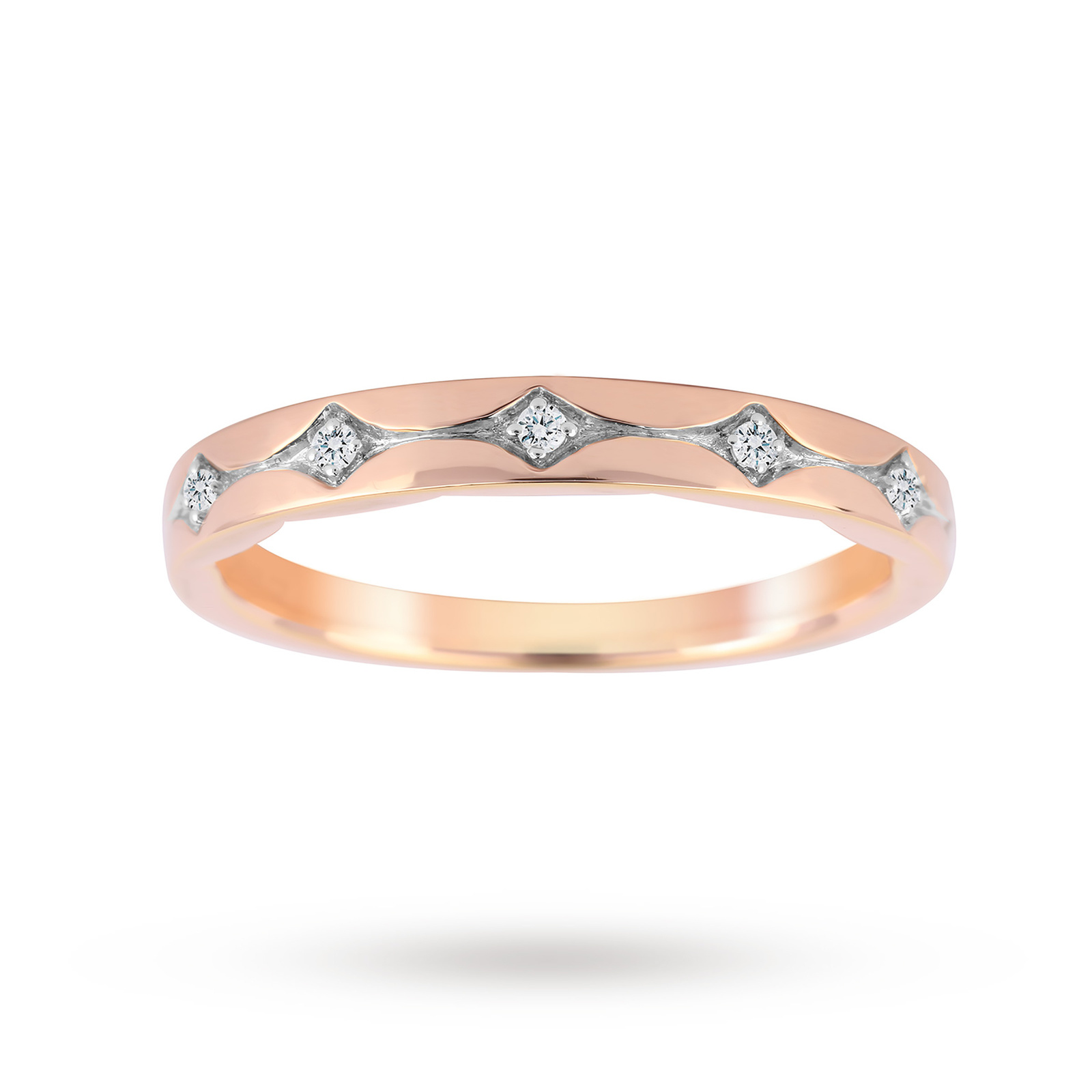 Jenny Packham 18ct Rose Gold 0.05cttw Band Ring - Ring Size J