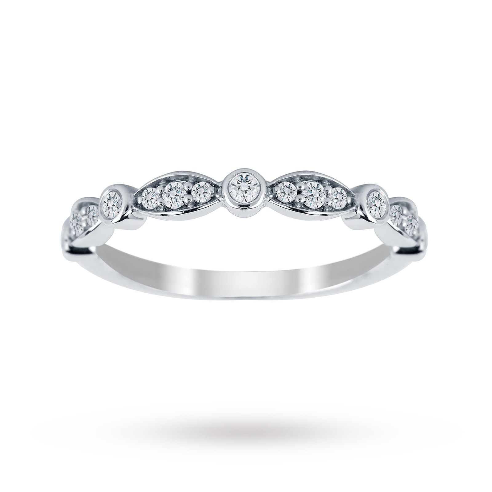 Jenny Packham 18ct White Gold 0.20cttw Band Ring - Ring Size J