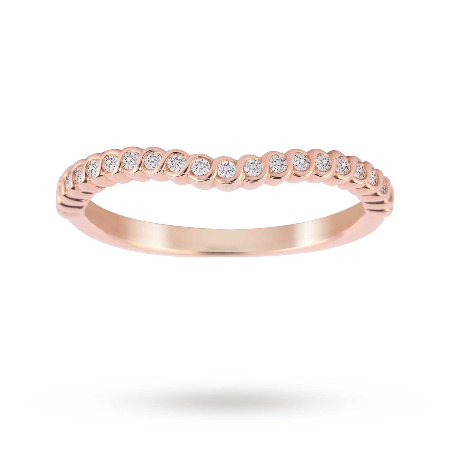 Jenny Packham 18ct Rose Gold 0.15cttw Twist Dip Band Ring - Ring Size J