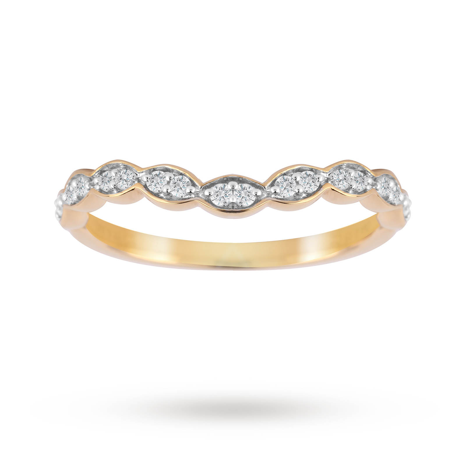 Jenny Packham 18ct Yellow Gold 0.15cttw Dip Band Ring - Ring Size K