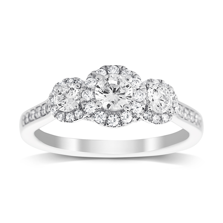 Jenny Packham Three Stone Brilliant Cut 0.80ct Diamond Ring in 18ct White Gold