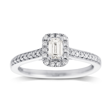 Jenny Packham Emerald Cut 0.50ct Halo Diamond Ring in 18ct White Gold