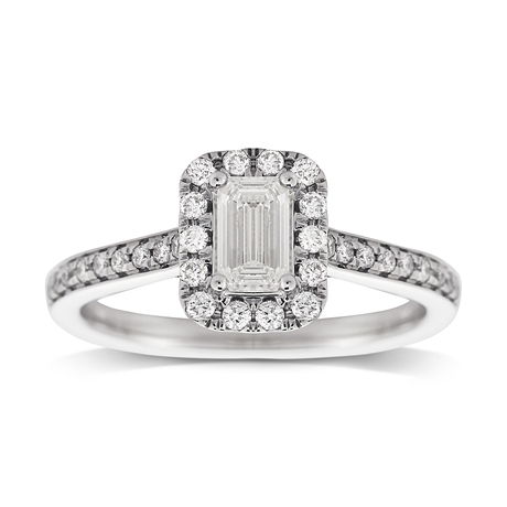 Jenny Packham Emerald Cut 0.90ct Halo Diamond Ring in 18ct White Gold