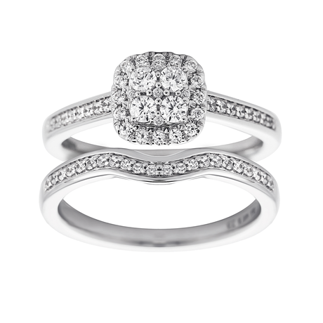 Jenny Packham Cluster 0.50ct Diamond Bridal Set in 18ct White Gold