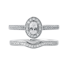 Jenny Packham Oval Cut 0.50ct Halo Diamond Ring in 18ct White Gold
