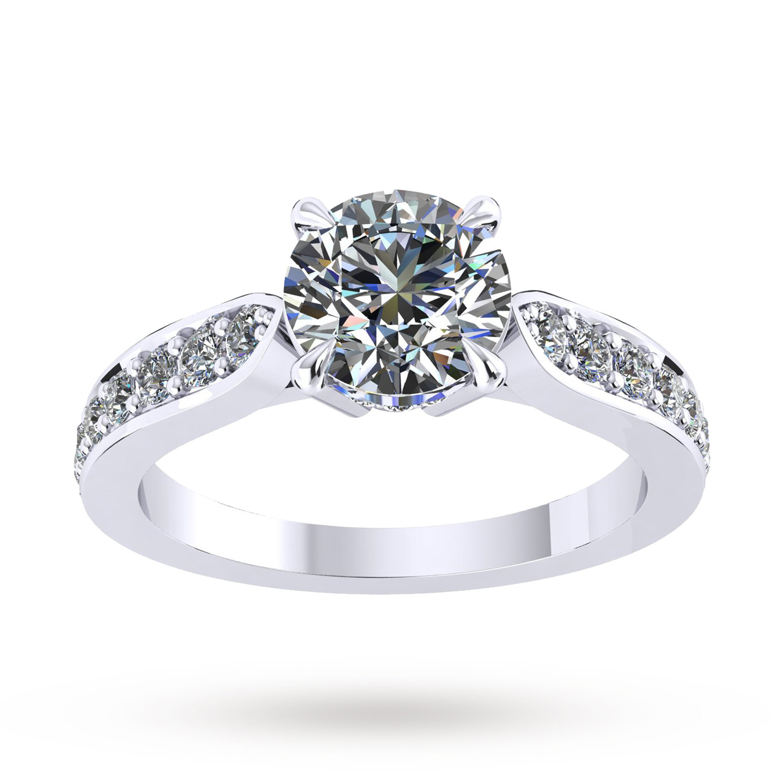Boscobel Engagement Ring With Diamond Band 0.42 Carat Total Weight - Ring Size J