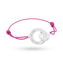Merci Maman Love You To The Moon Silver Double Circle On Pink Cord