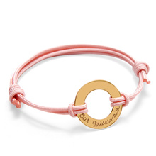 Merci Maman Yellow Gold Plated Our Bridesmaid Ring Bracelet On Pale Pink Cord