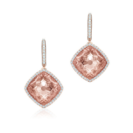 Birks Muse Morganite Earrings with 0.35ct Pavé Diamonds