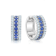 Birks Splash 0.66ct Diamond and Blue Sapphire Hoop Earrings