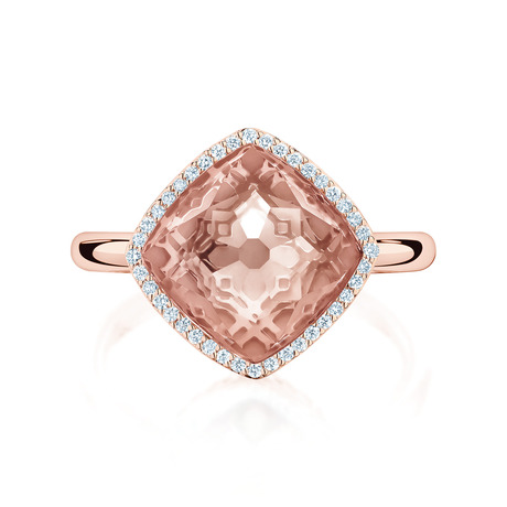 Birks Muse Morganite Ring with Pavé Diamonds - Ring Size O