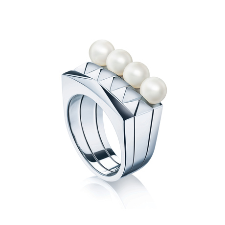 Birks Rock & Pearl Stackable Rings - Ring Size O