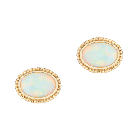 Birks Yellow Gold and Opal Stud Earrings