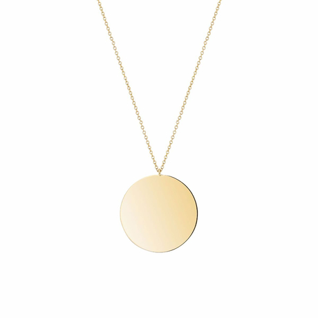 Birks Large Yellow Gold Disk Pendant