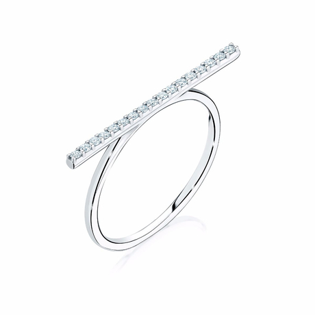 Birks White Gold Diamond Bar Ring