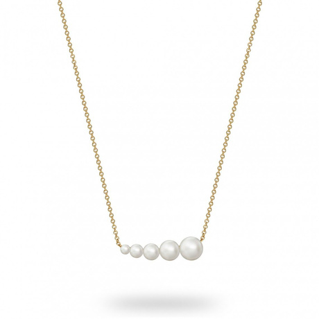 Birks Gold and Pearl Freshwater Pearl Horizontal Bar Necklace