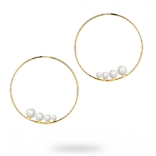Birks Gold and Pearl Hoop Earrings
