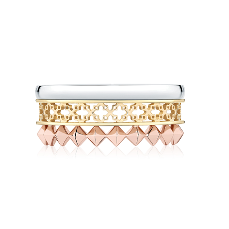 Birks Iconic Dare to Dream Tri-Gold Stackable Ring