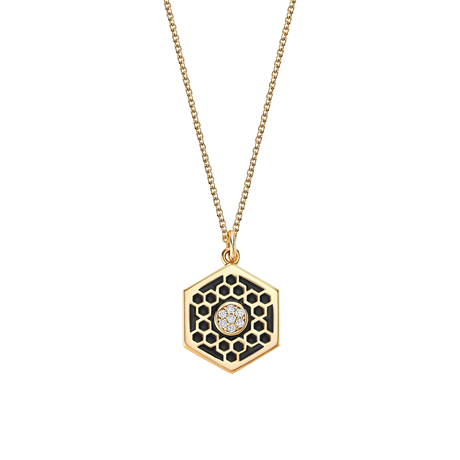 Birks Bee Chic Medium Black Enamel and Diamond Hexagon Medallion