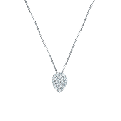 Birks Snowflake Starry Night One-Halo Pear-Shaped Cluster Diamond Pendant