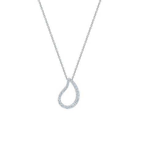 Birks Pétale Large Single Diamond Pendant in White Gold