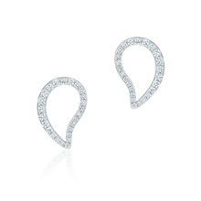 Birks Pétale Large Diamond Stud Earrings in White Gold