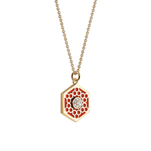 Birks Bee Chic Medium Red Enamel and Diamond Hexagon Medallion