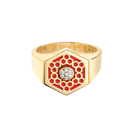 Birks Bee Chic Red Enamel and Diamond Hexagon Signet Ring