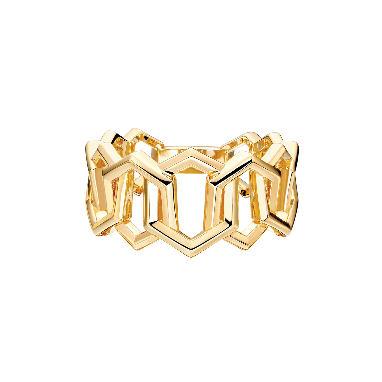 Birks Bee Chic Bold Gold Yellow Gold Link Ring - Ring Size J